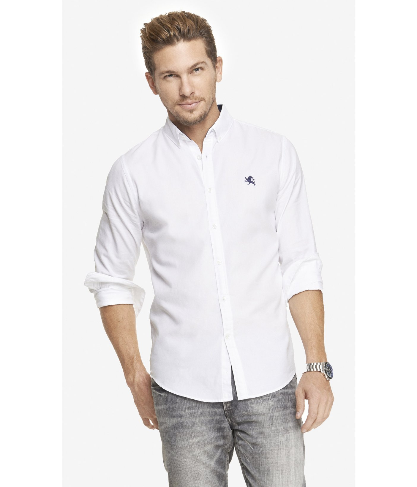 Lyst Express Fitted Oxford Shirt In White For Men