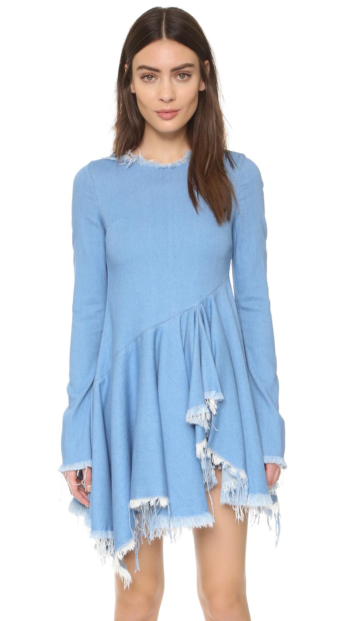 960fb18f0d8 Marques Almeida Denim Dress With Flared Skirt in Blue - Lyst