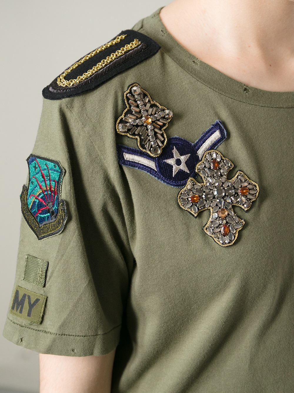 Lyst Mr Amp Mrs Italy Military Patch Tshirt In Green