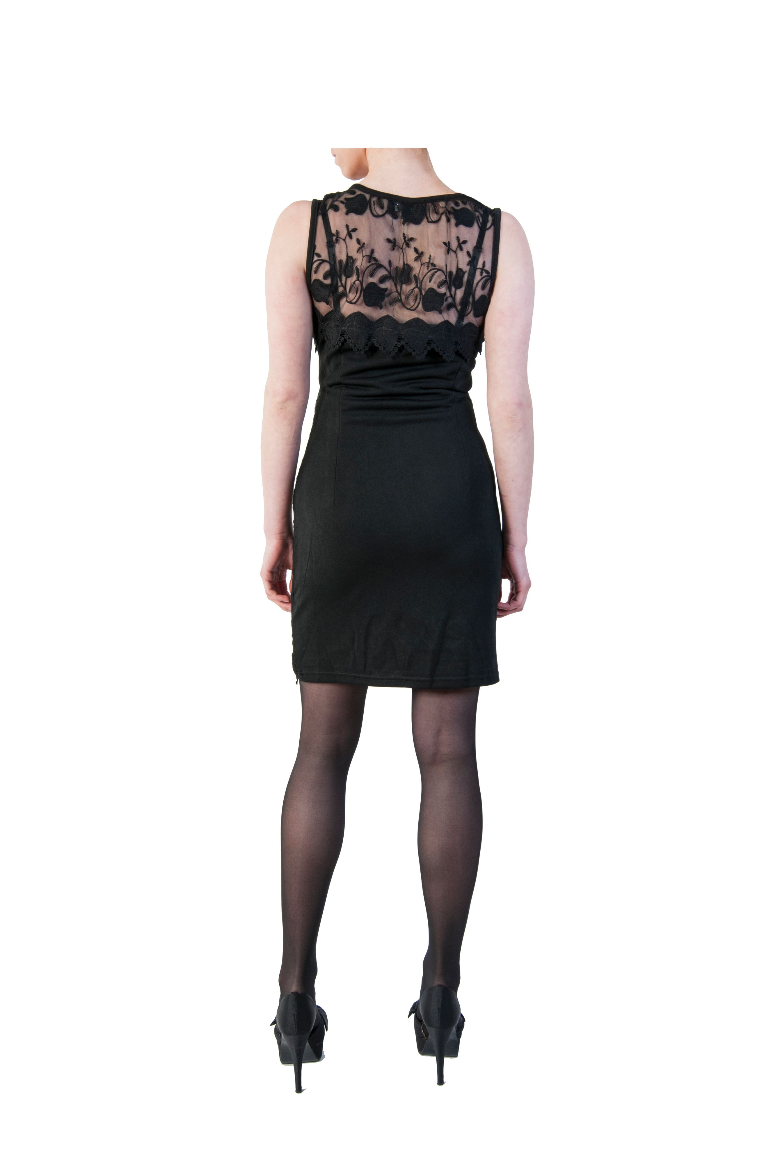 pussycat sleeveless lace shift dress in black lyst