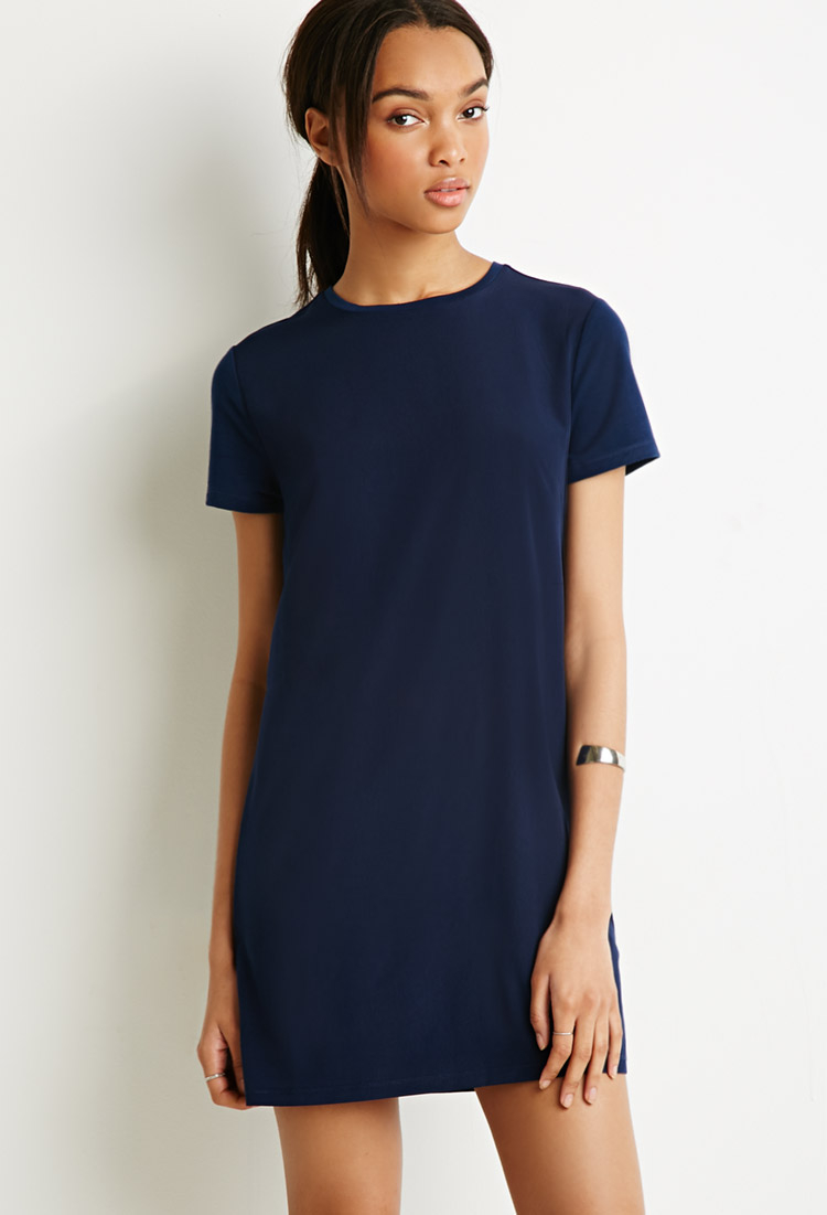 Forever 21 Sateen Paneled T Shirt Dress In Blue Lyst