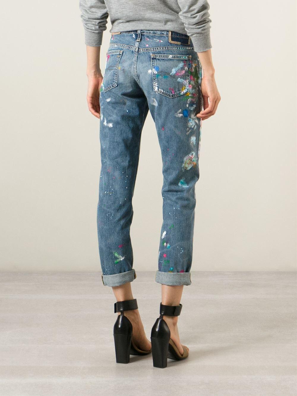 polo ralph lauren distressed paint splatter jeans in blue. Black Bedroom Furniture Sets. Home Design Ideas
