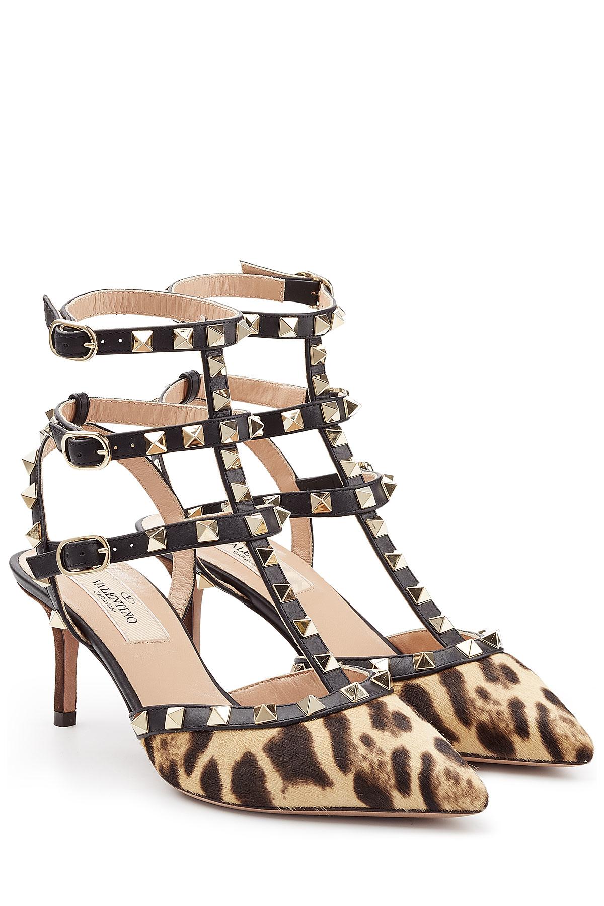 f78c770204a Lyst - Valentino Rockstud Calf Hair Kitten Heel Pumps - Animal Prints