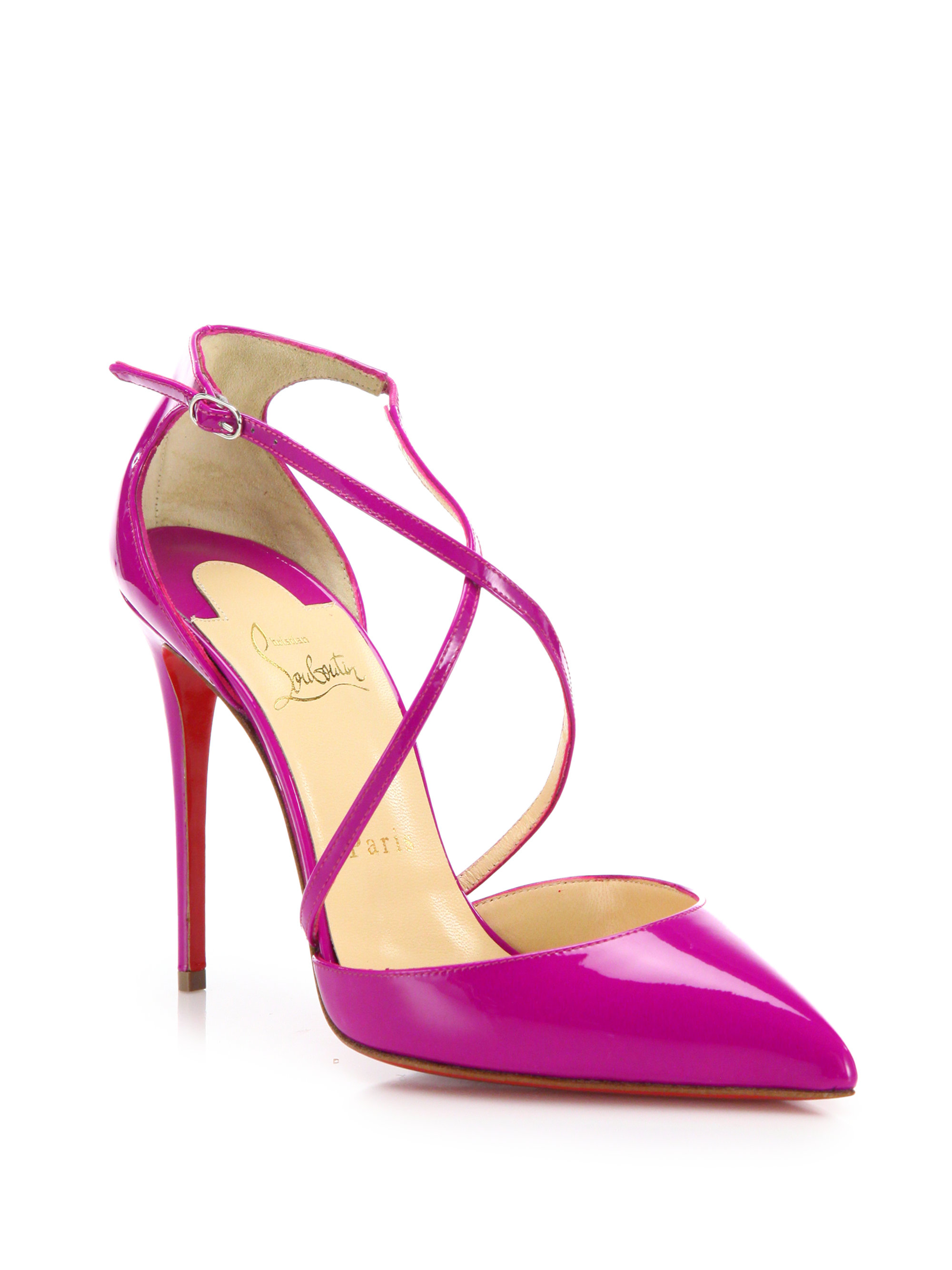 louis vuitton red bottom shoes price - Christian louboutin Blake Crossover Patent Leather Pumps in Pink ...