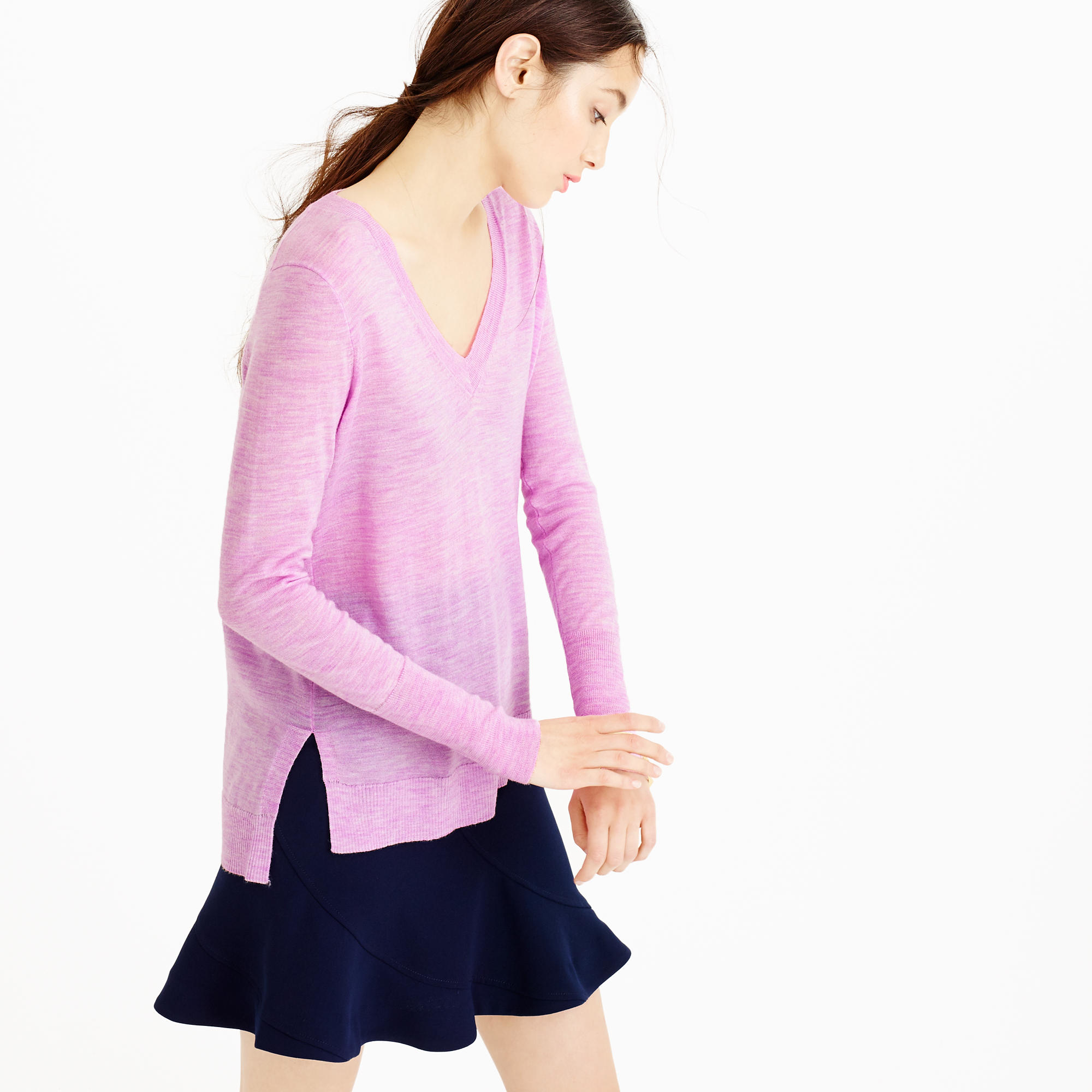 J.crew Merino Wool V-neck Tunic Sweater in Pink | Lyst