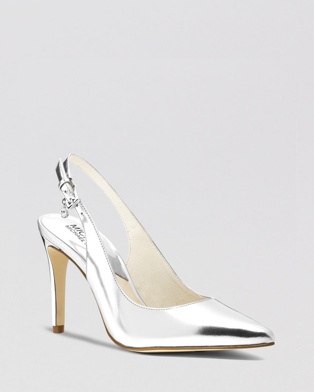 michael michael kors pointed toe slingback pumps elisa high heel in metallic lyst. Black Bedroom Furniture Sets. Home Design Ideas