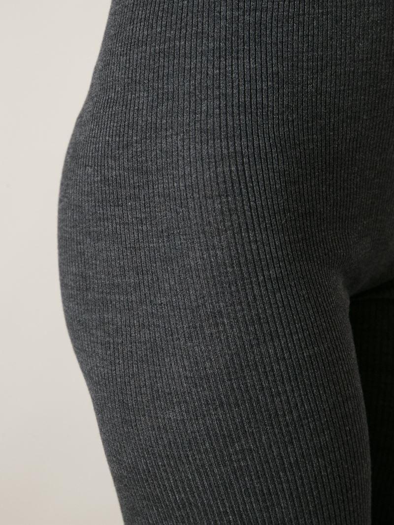 lyst dolce gabbana ribbed leggings in gray. Black Bedroom Furniture Sets. Home Design Ideas