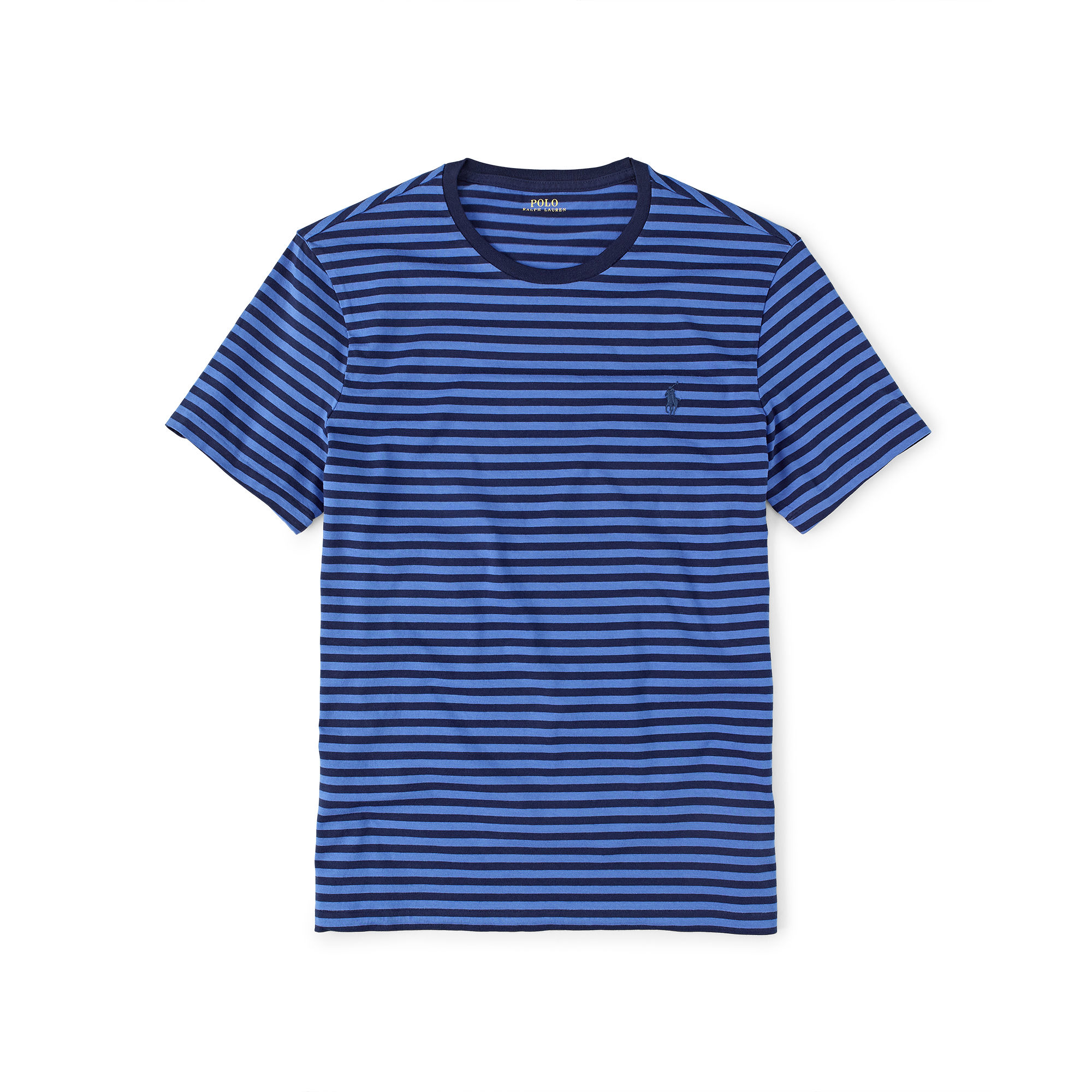 polo ralph lauren custom fit striped t shirt in blue for