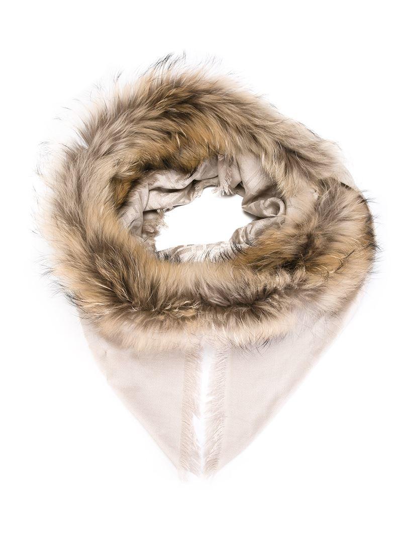 fur trim scarf - Nude & Neutrals Fendi woizfE