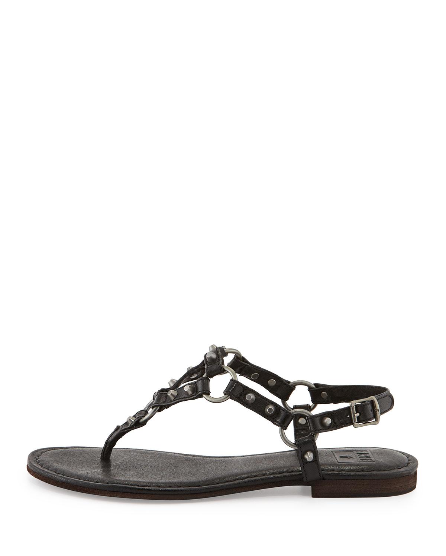 Lyst Frye Carson Rivet Leather Thong Sandal In Black For Men