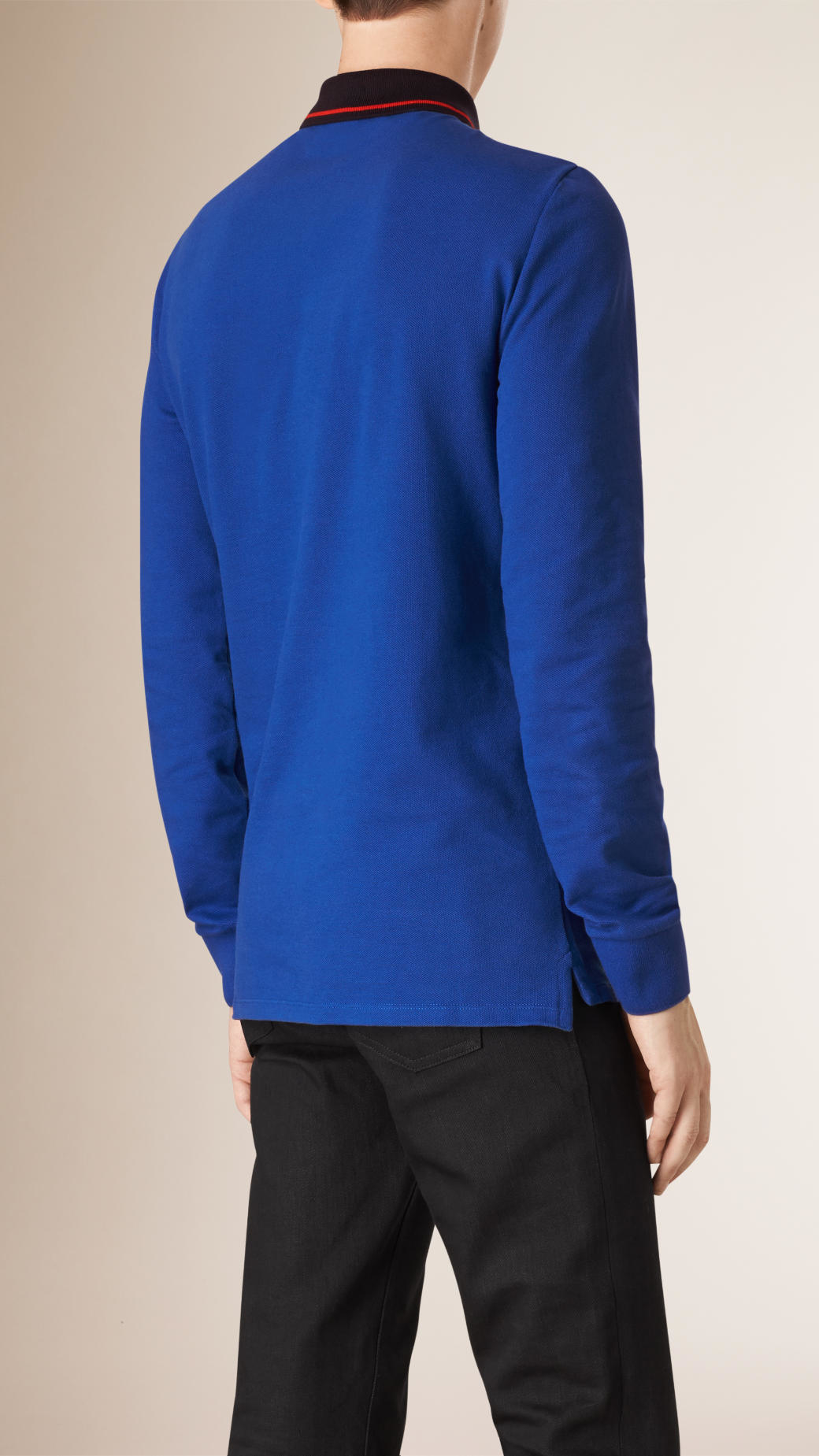 Lyst burberry contrast tipping cotton piqu polo shirt for Cobalt blue polo shirt