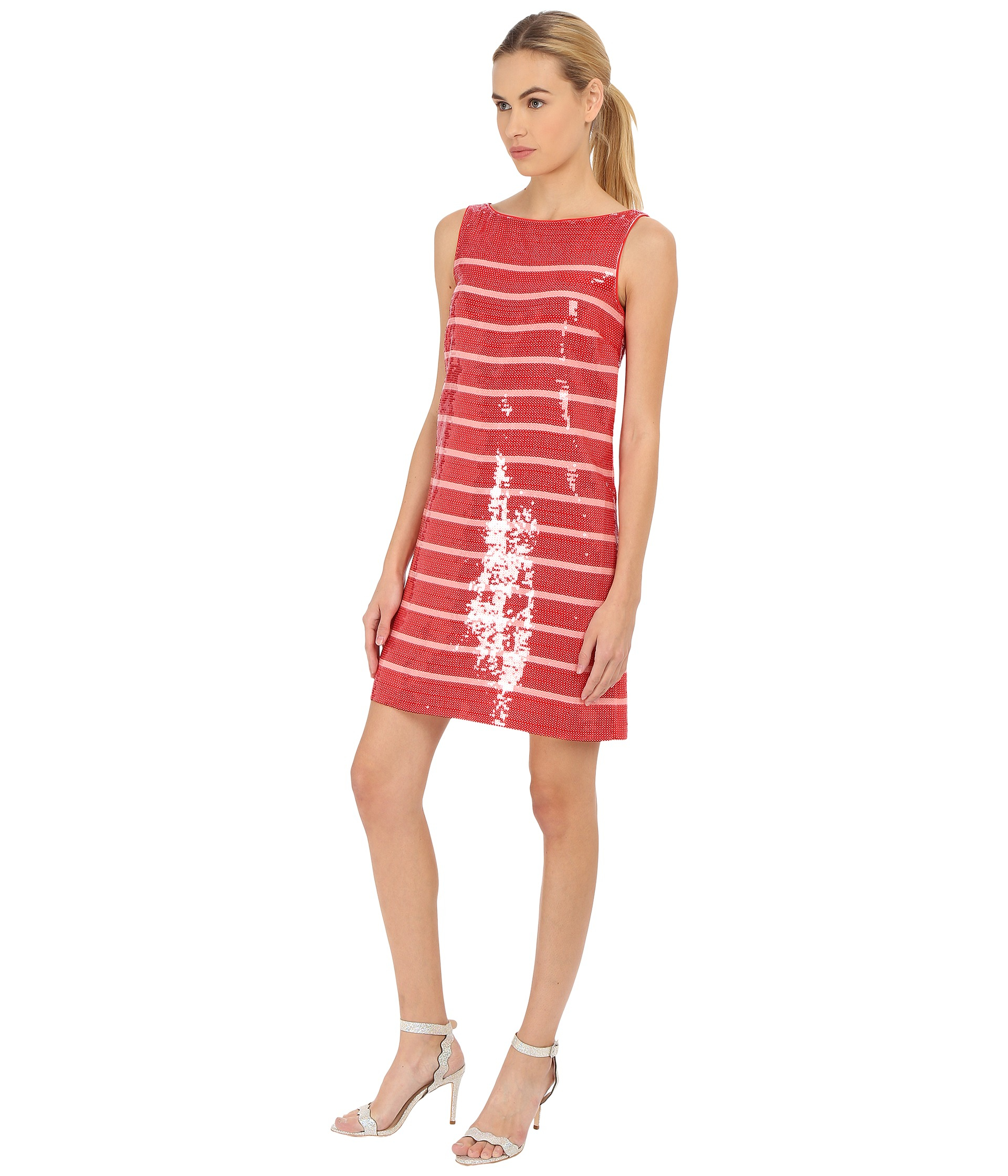 7916c515c5 Lyst - Kate Spade Sleeveless Sequin Stripe Dress in Red