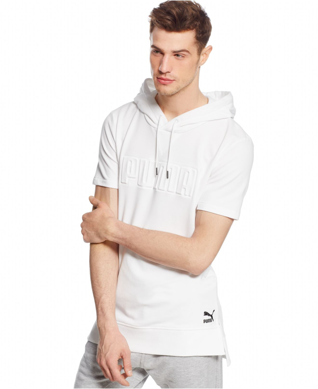 Puma Seasonal Short-sleeve Pullover Hoodie in White for Men | Lyst