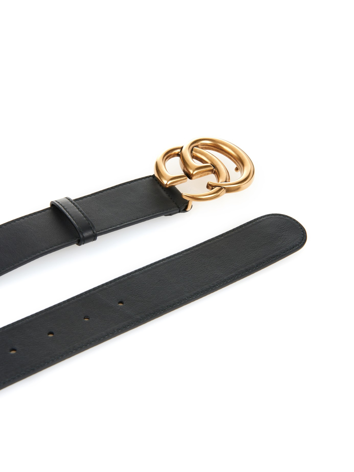 gucci gg logo leather belt in black for lyst