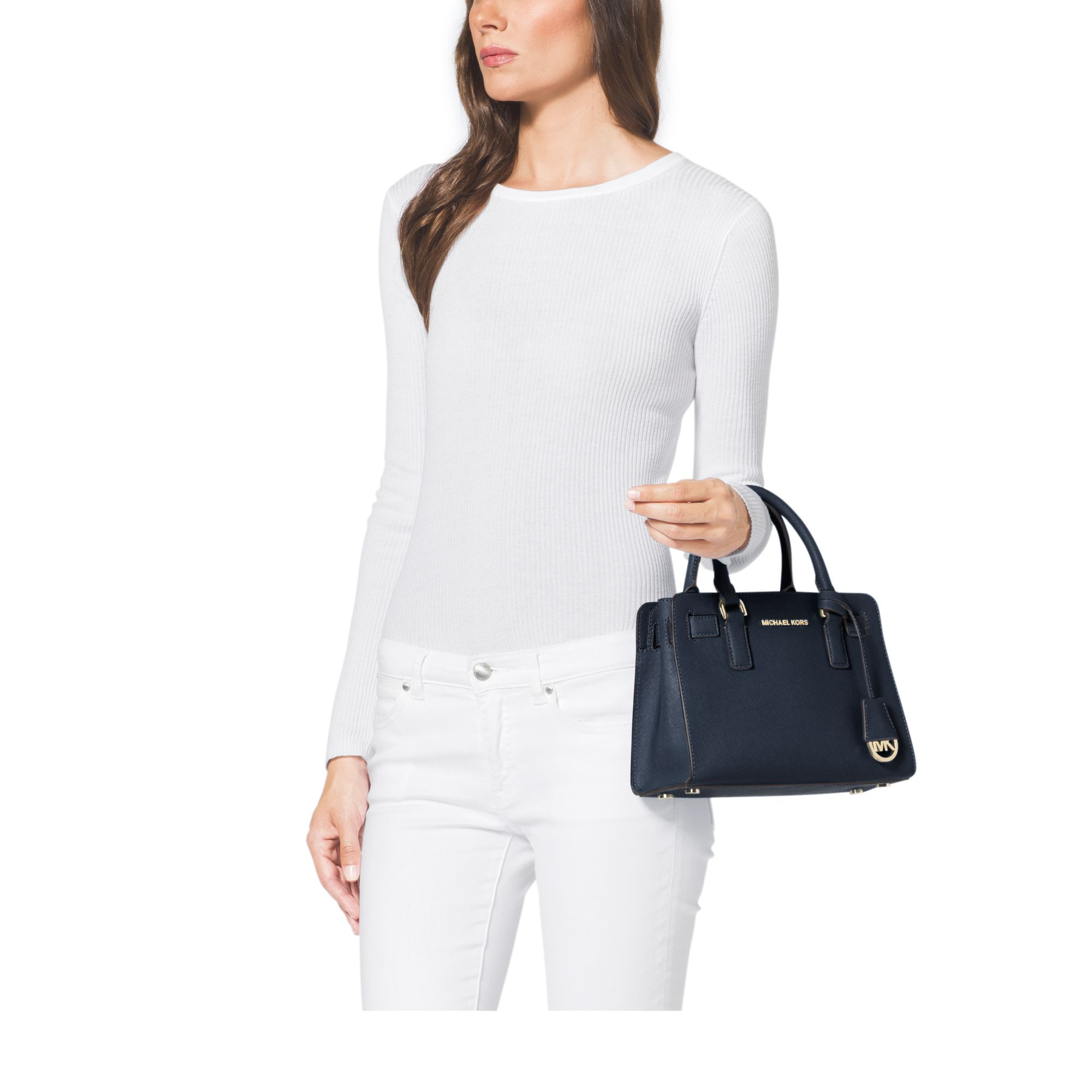 d79150278c39 Michael Kors Dillon Small Saffiano Leather Satchel in Blue - Lyst