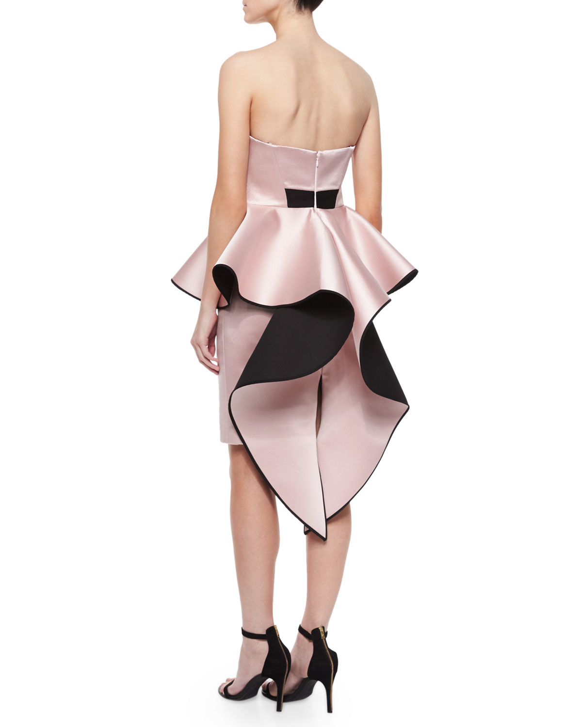 8e4e71f6b0 MILLY Adeline Strapless Peplum Cocktail Dress in Pink - Lyst