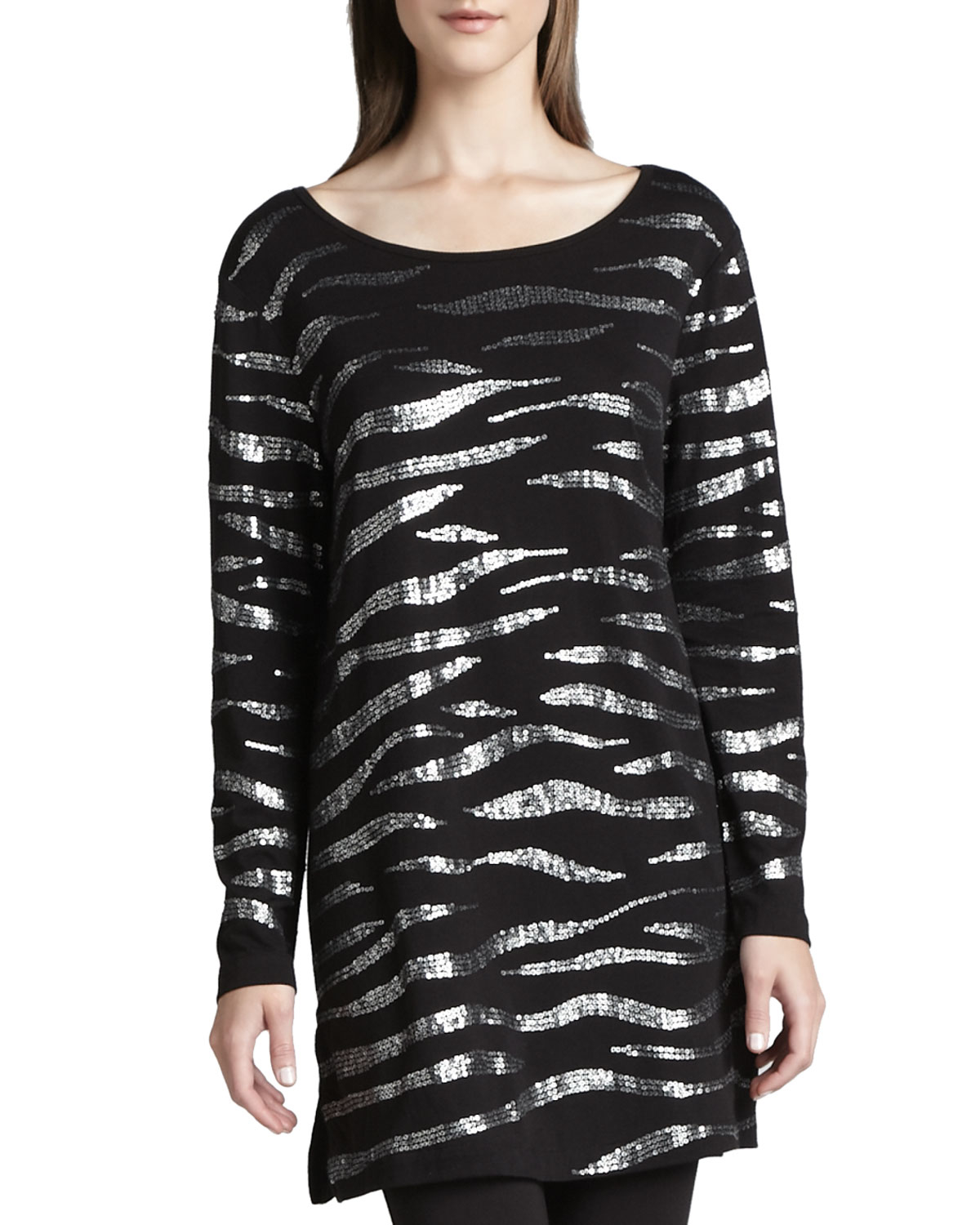 Joan Vass Animal Sequined Tunic In Black (BLACK W/ SILVER