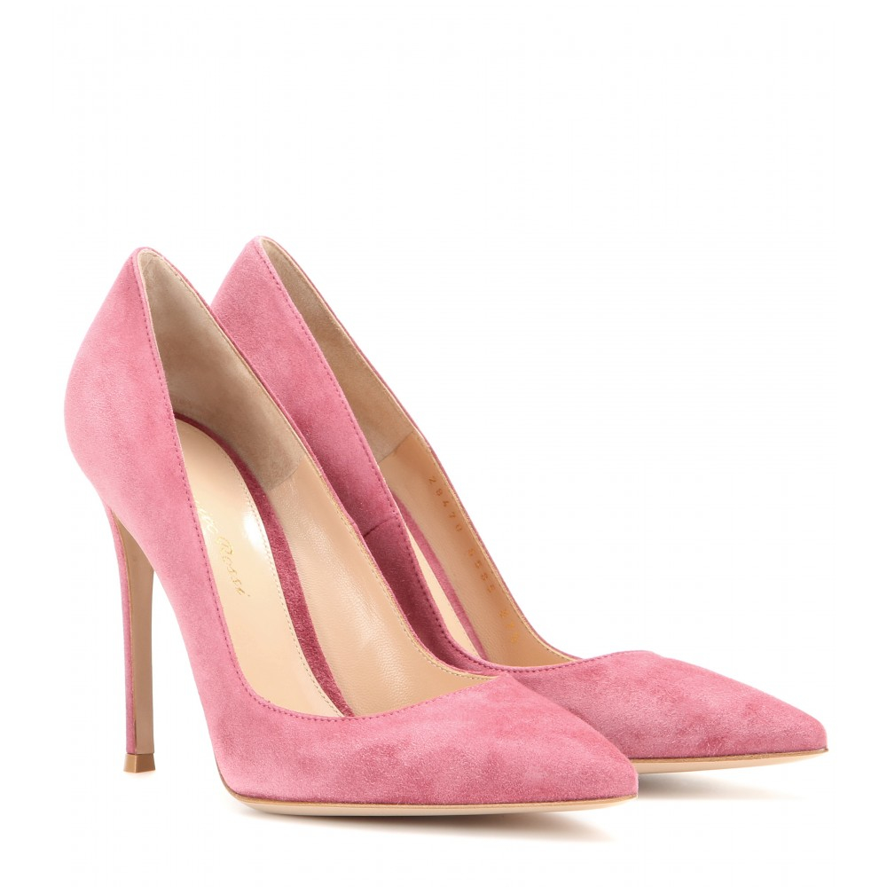 Gianvito Rossi Suede Pointed Toe Pumps In Pink Lyst
