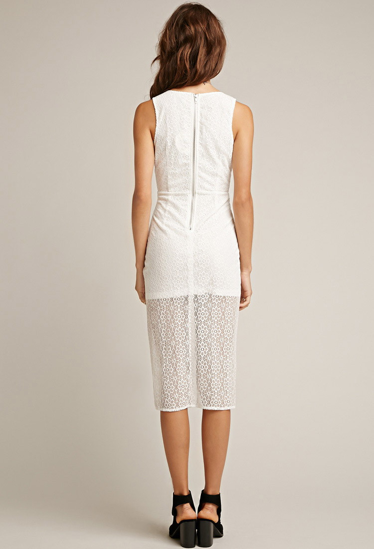 Forever 21 Tiger Mist Floral Lace Midi Dress in White | Lyst