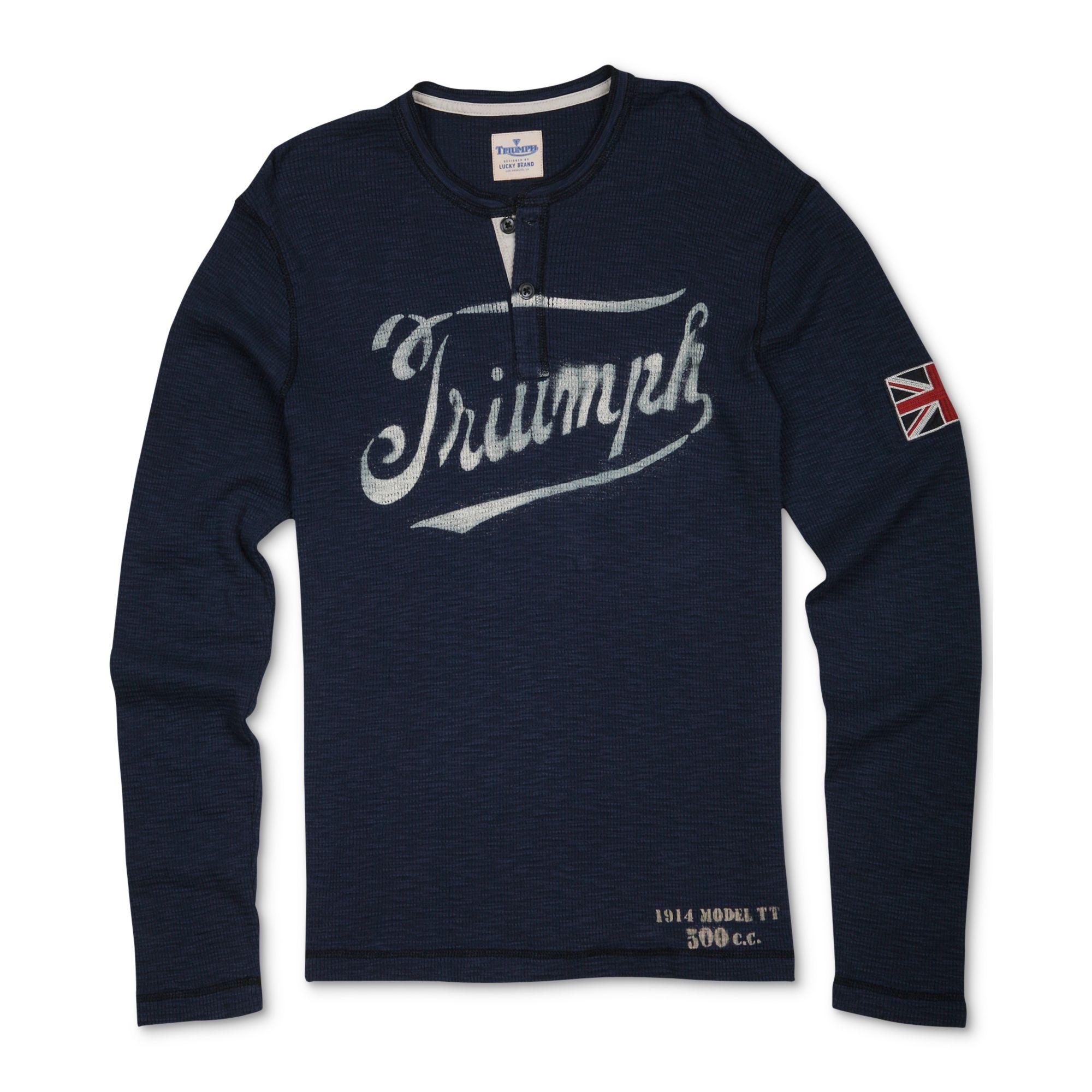 Lucky Brand Triumph Stencil Henley Shirt In Blue For Men
