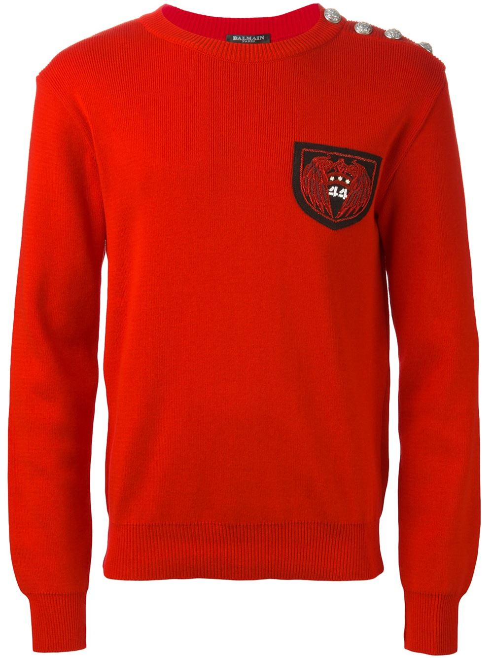 Balmain Button Embellished Sweater in Red for Men | Lyst