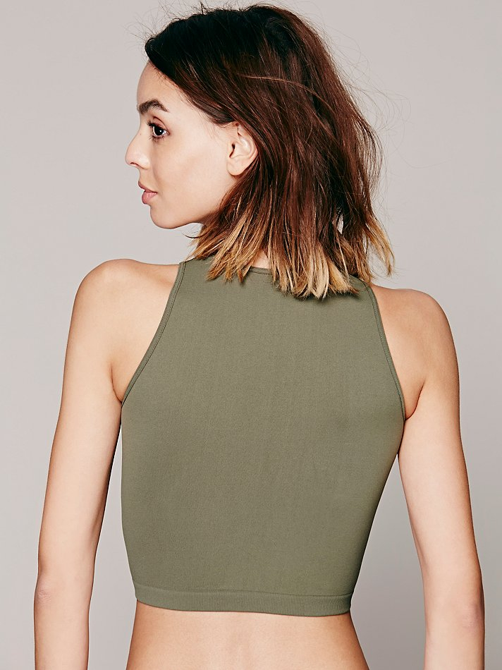 23b05d3378 Lyst - Free People High Neck Seamless Crop in Green