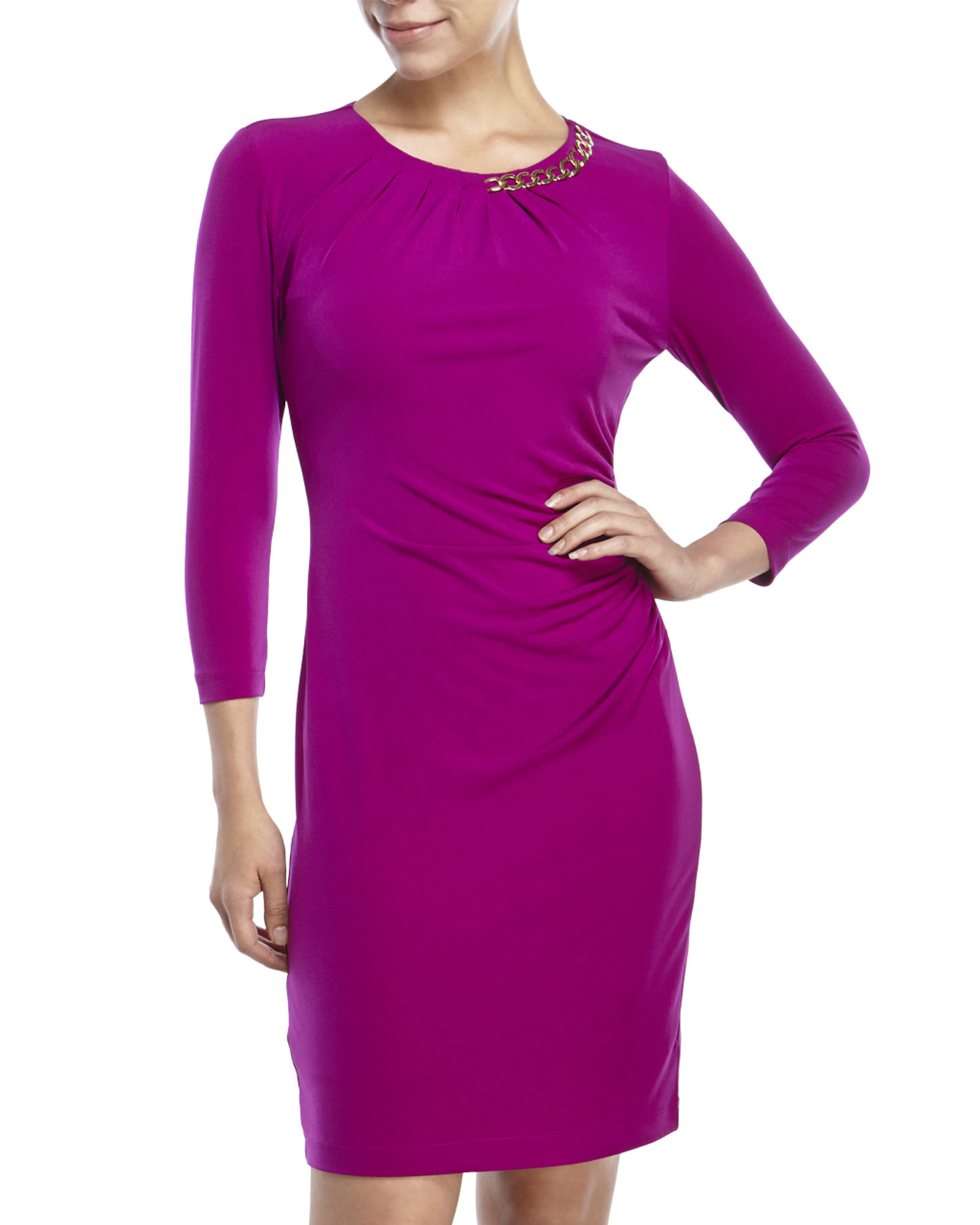 e98119d4 Tahari Petite Solid Sheath Dress in Purple - Lyst