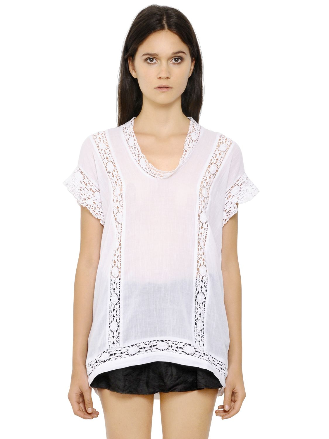 lyst toile isabel marant cotton voile crochet top in white. Black Bedroom Furniture Sets. Home Design Ideas
