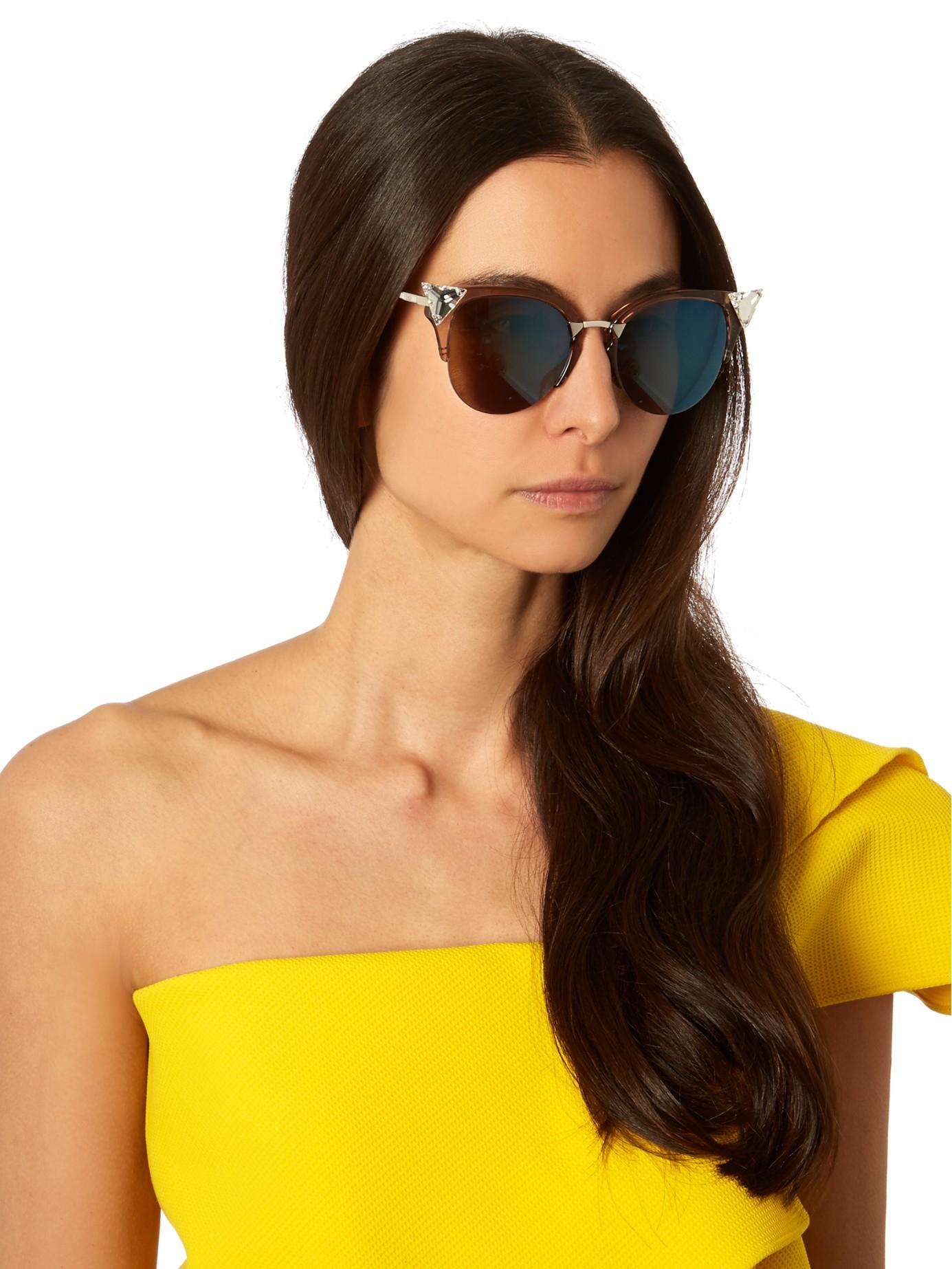 0261072094 Lyst - Fendi Cat-eye Half-frame Sunglasses in Pink