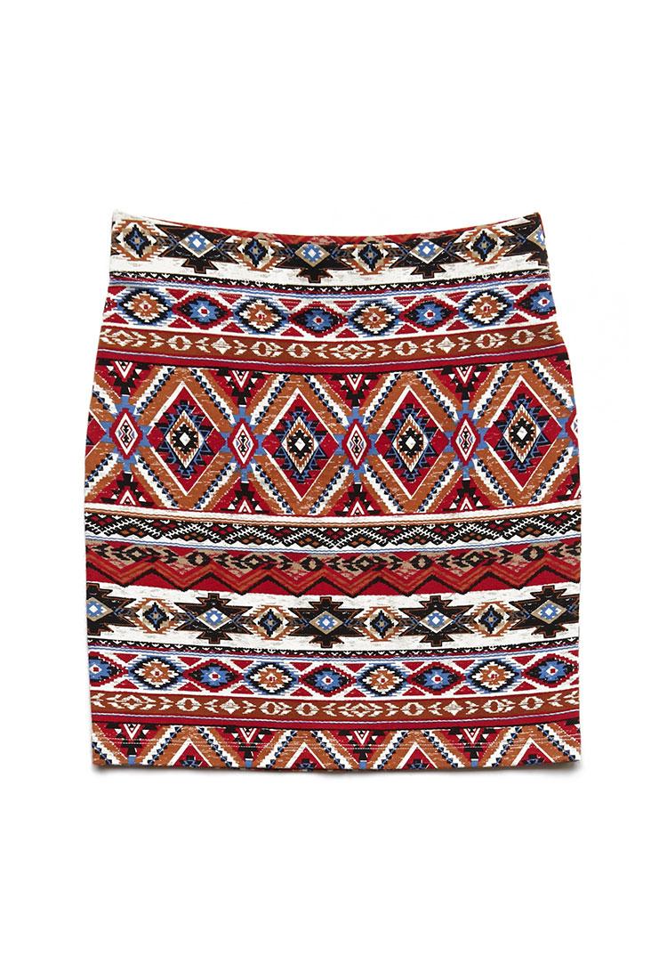 Forever 21 Tribal Print Mini Skirt in Red | Lyst