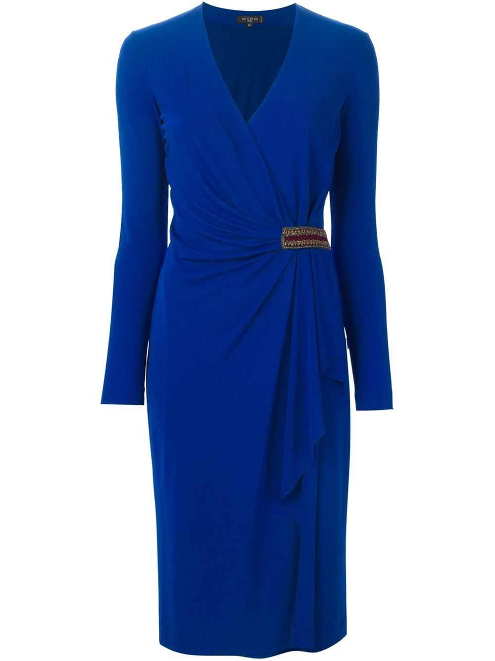 Etro Draped Wrap Midi Dress In Blue Lyst