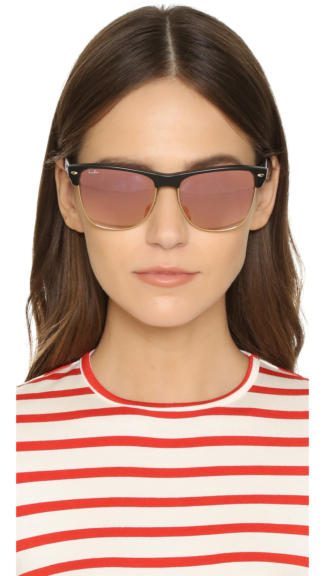 ray ban oversized clubmaster sunglasses  Ray-ban Oversized Mirrored Clubmaster Sunglasses in Black