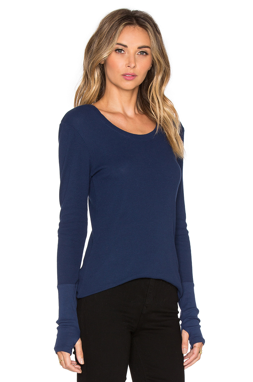 Michael stars long sleeve thermal tee in blue lyst for Michael stars tee shirts