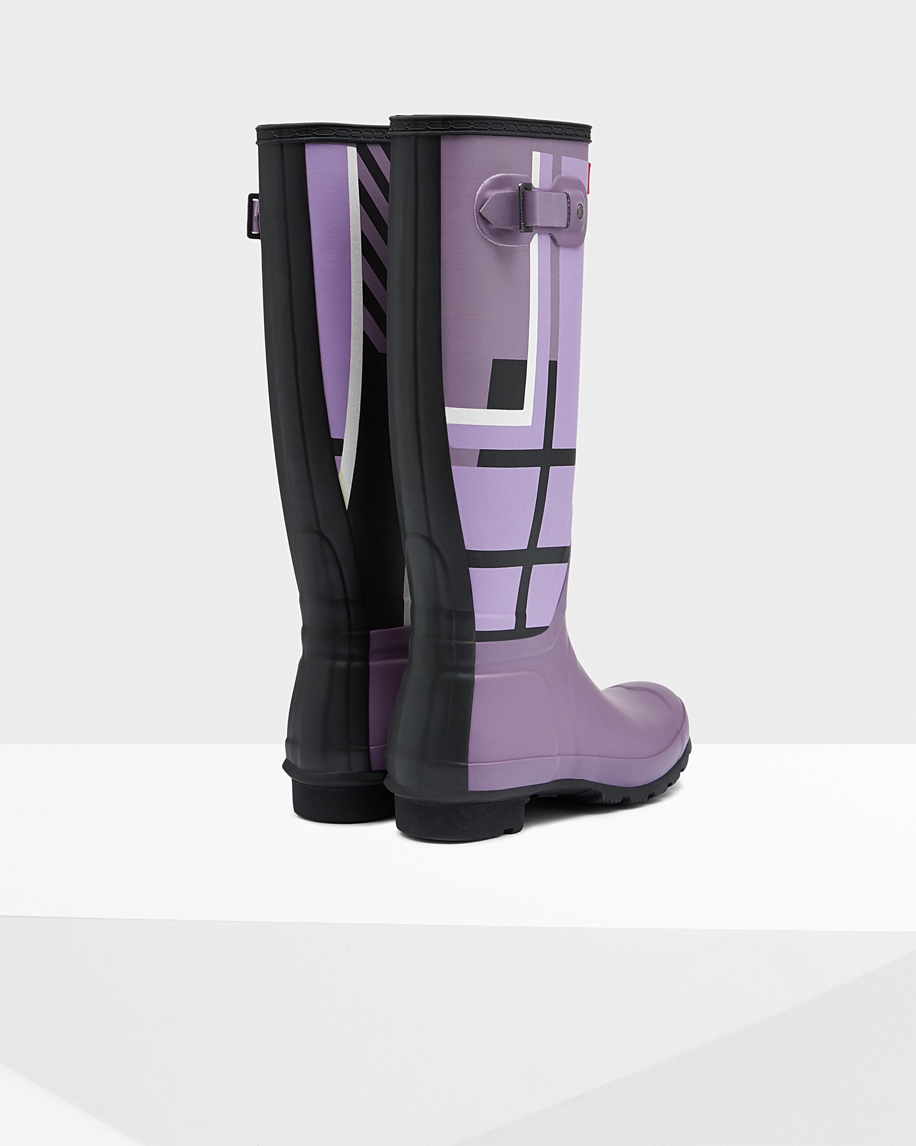 Hunter Women'S Original Tall Tartan Rain Boots in Purple | Lyst