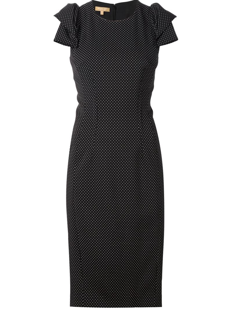 Lyst michael kors origami sleeve pindot dress in black gallery jeuxipadfo Gallery