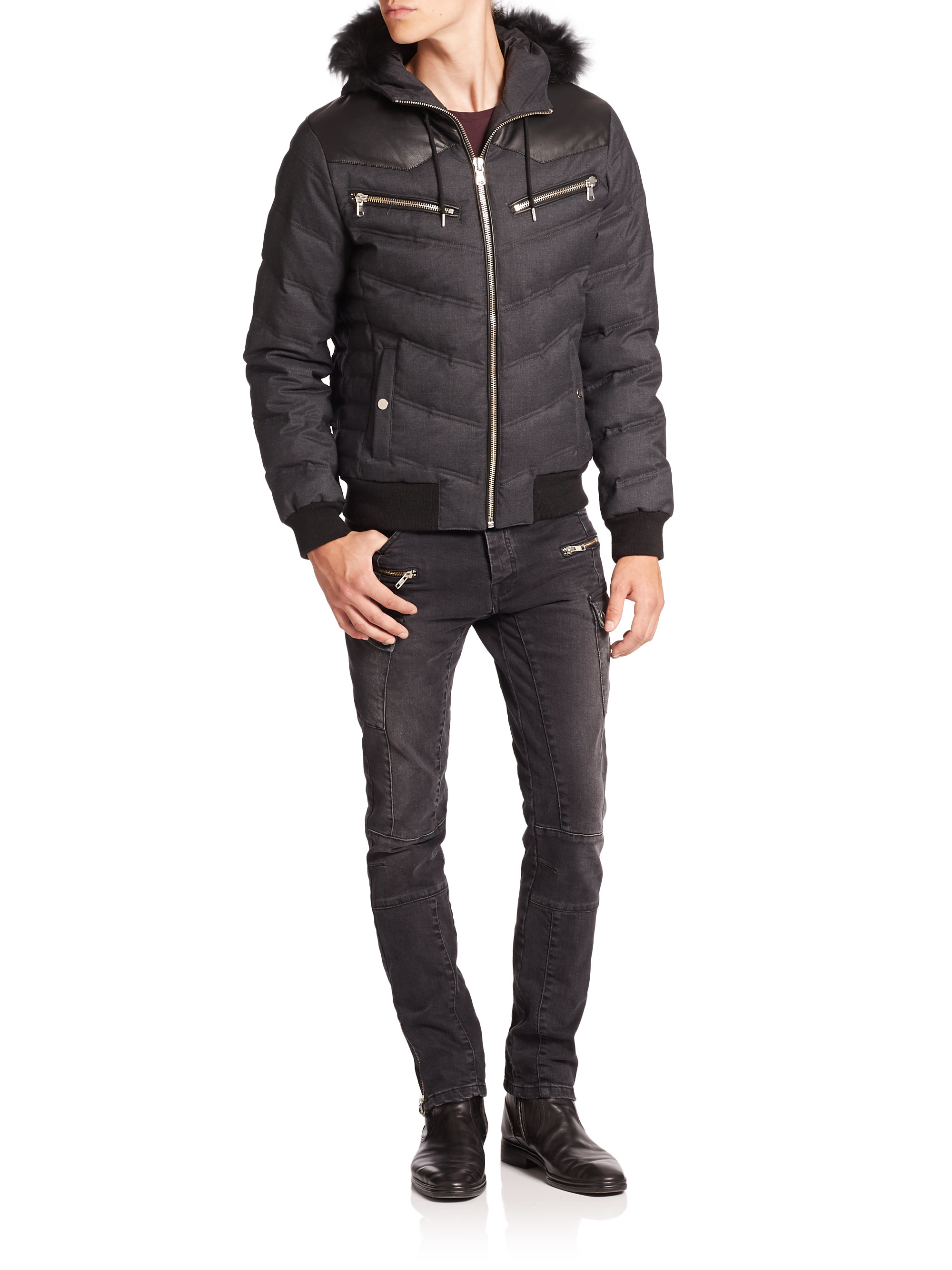 5b0a131d75 The Kooples Sport Fur-trimmed Puffer Jacket in Gray for Men - Lyst