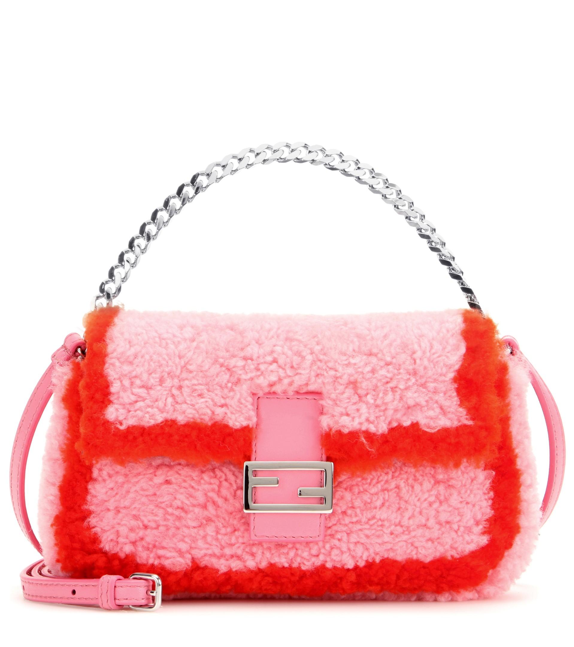 5f6201a1f8 ... resolution 600 900 previous next fendi micro peekaboo bag 2015 a8131  63fa4 australia lyst fendi micro baguette shearling shoulder bag in pink  a26a8 ...