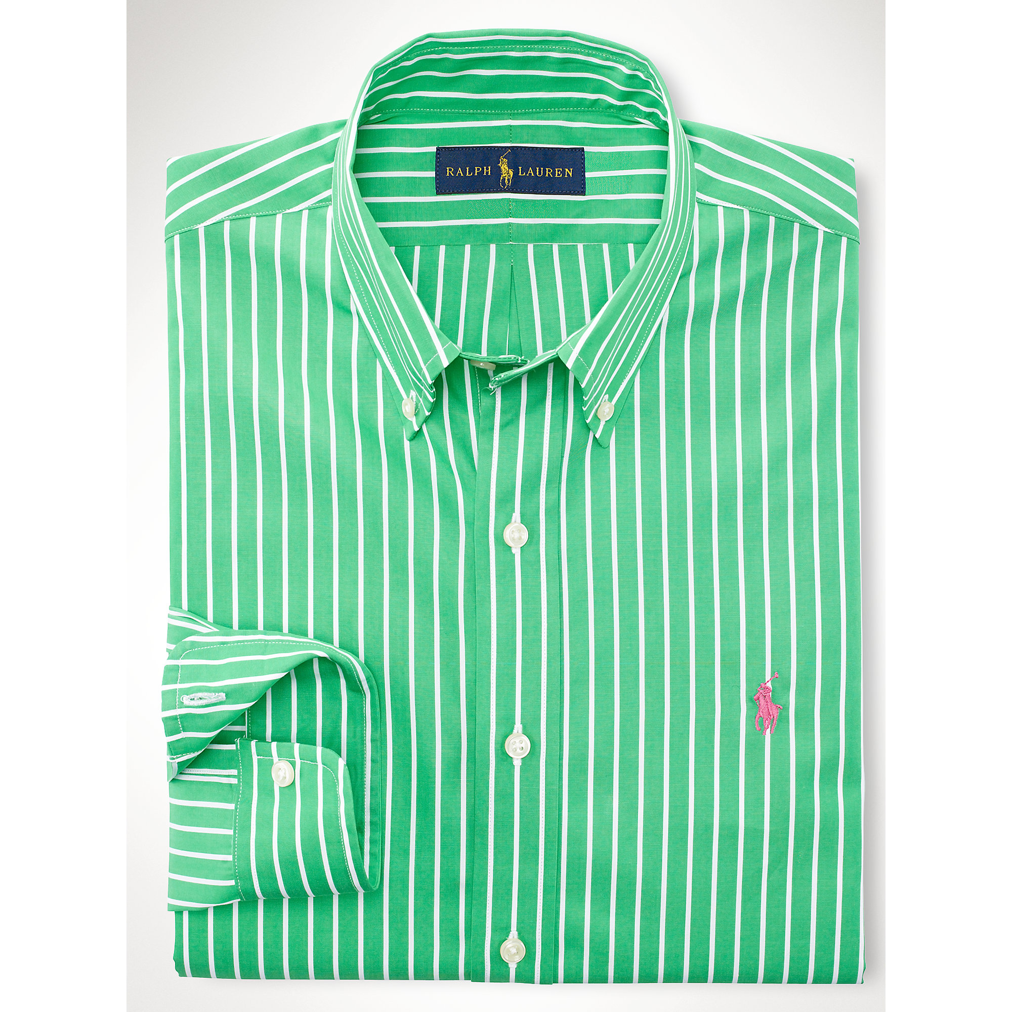 e4a7c0db6033a ... low price lyst polo ralph lauren slim fit striped poplin shirt in green  for men 9c28a