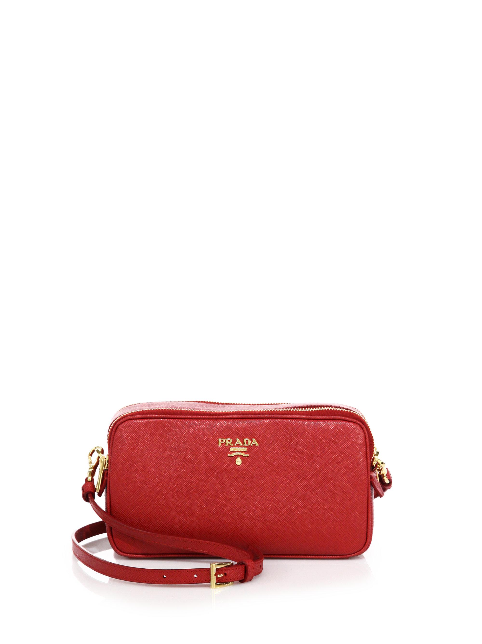 Prada Saffiano Leather Camera Bag in Red (fuoco) | Lyst