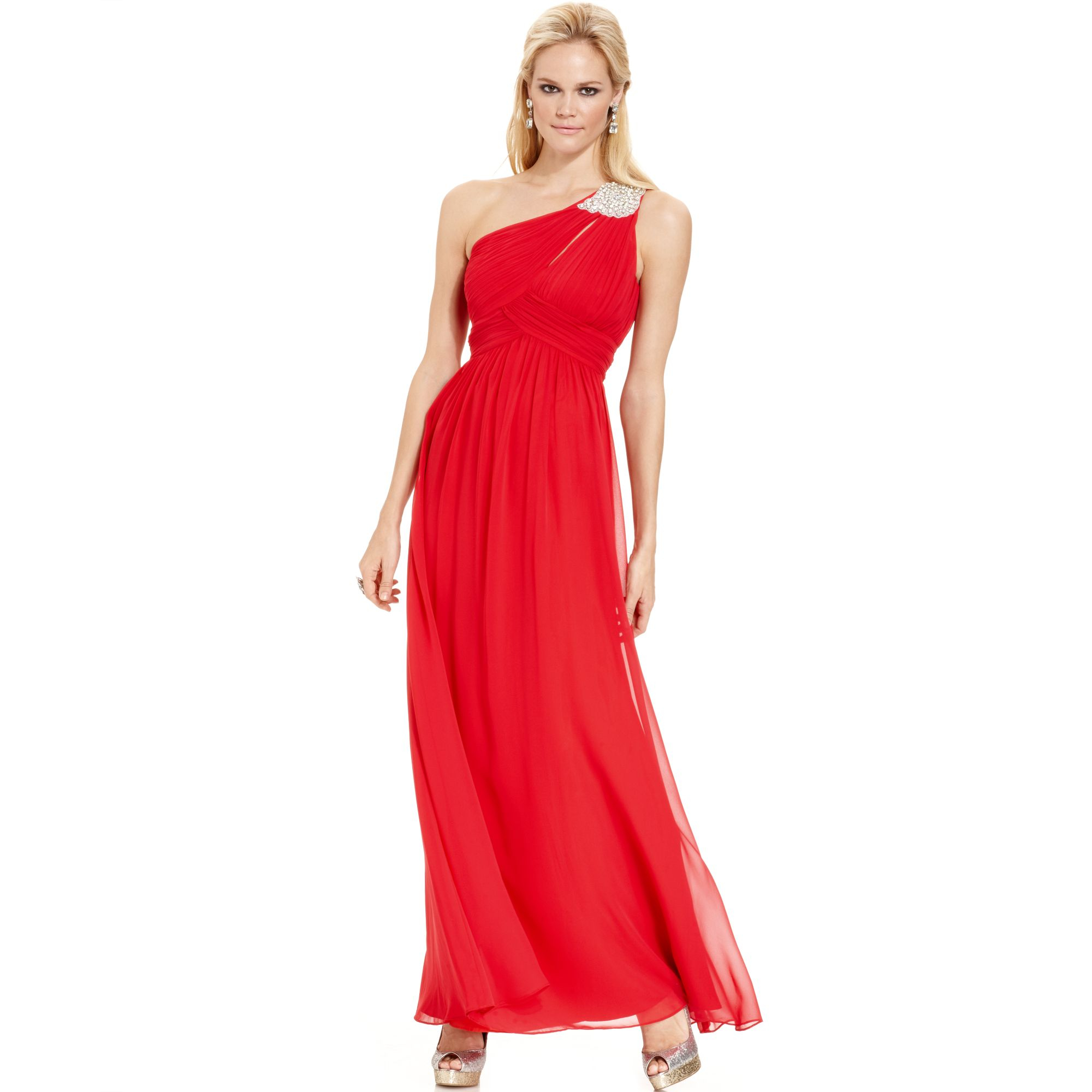 Calvin klein One Shoulder Jewel Brooch Gown in Red | Lyst