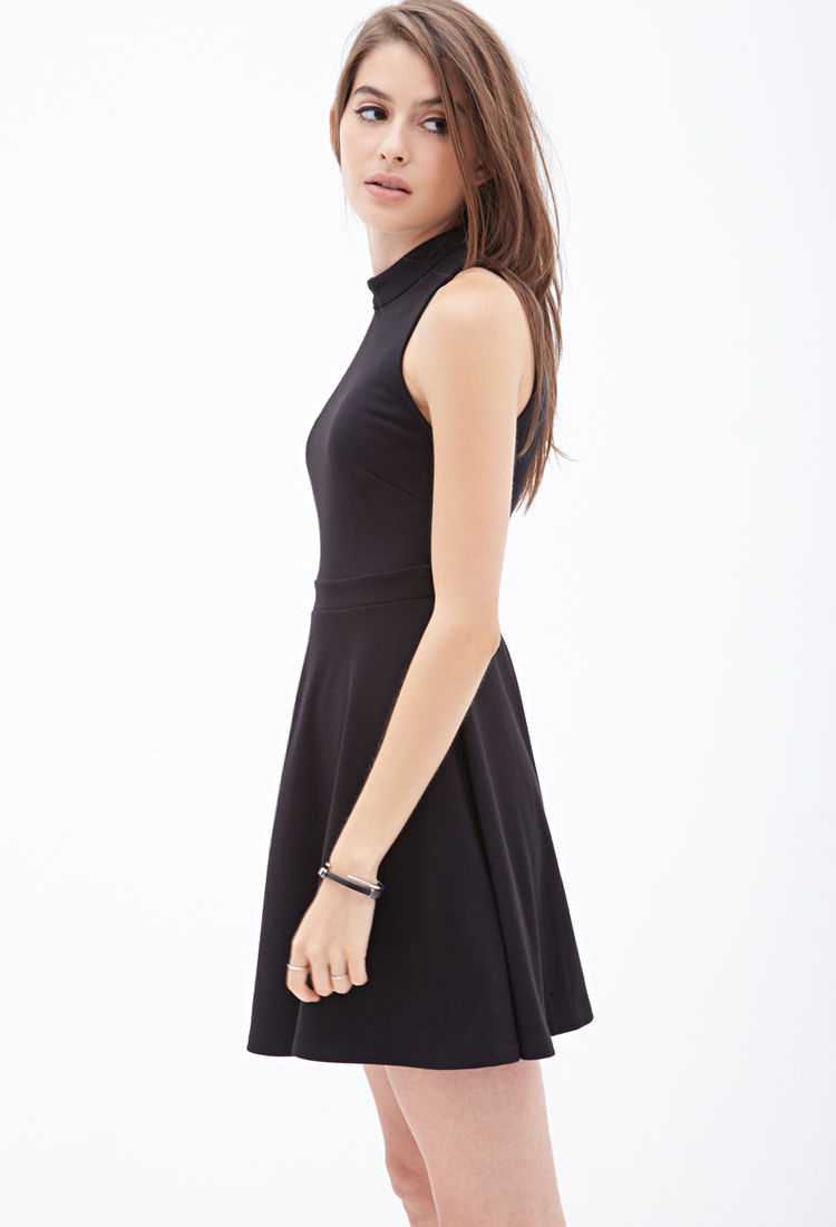 0f52f29abb0 Forever 21 High-neck Skater Dress in Black - Lyst
