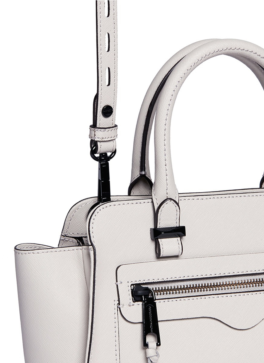 Rebecca minkoff 'avery' Mini Saffiano Leather Tote Bag in Natural ...