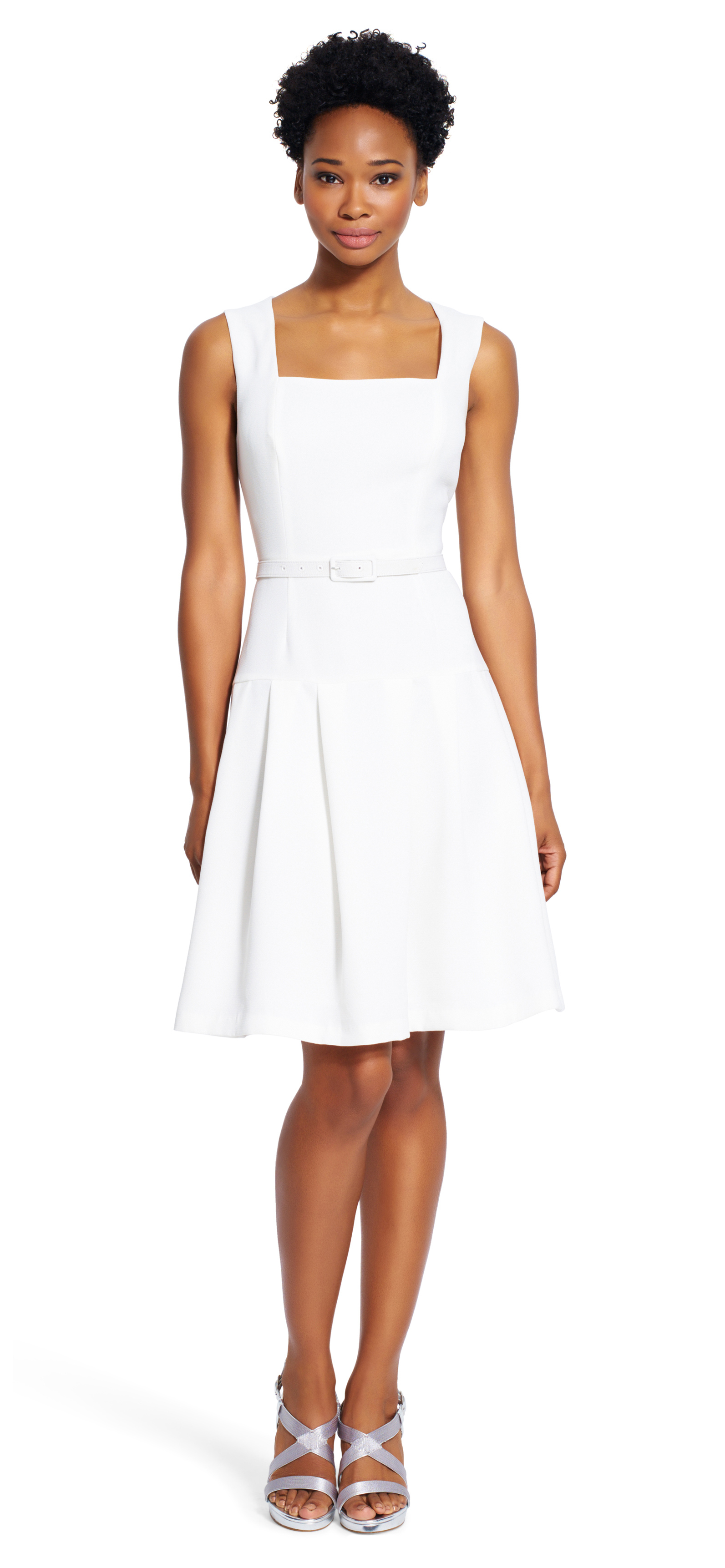 papell a line dress with belt in white lyst
