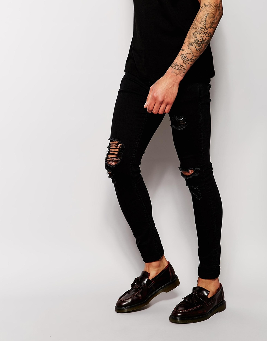 Asos Extreme Super Skinny Jeans With Extreme Rips in Black for Men ...