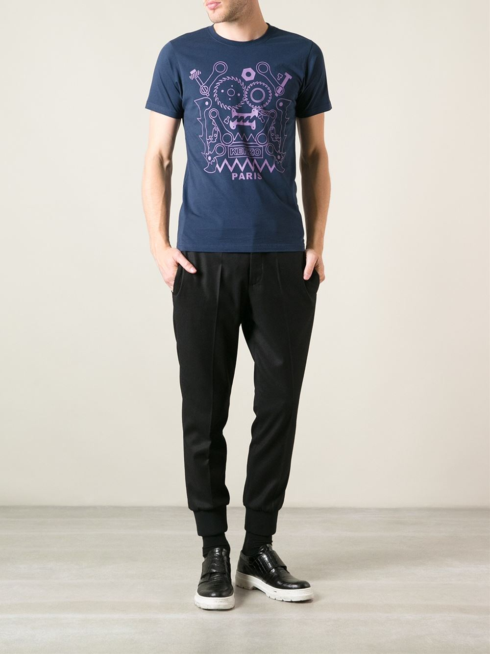 kenzo graphic t shirt in blue for men lyst. Black Bedroom Furniture Sets. Home Design Ideas