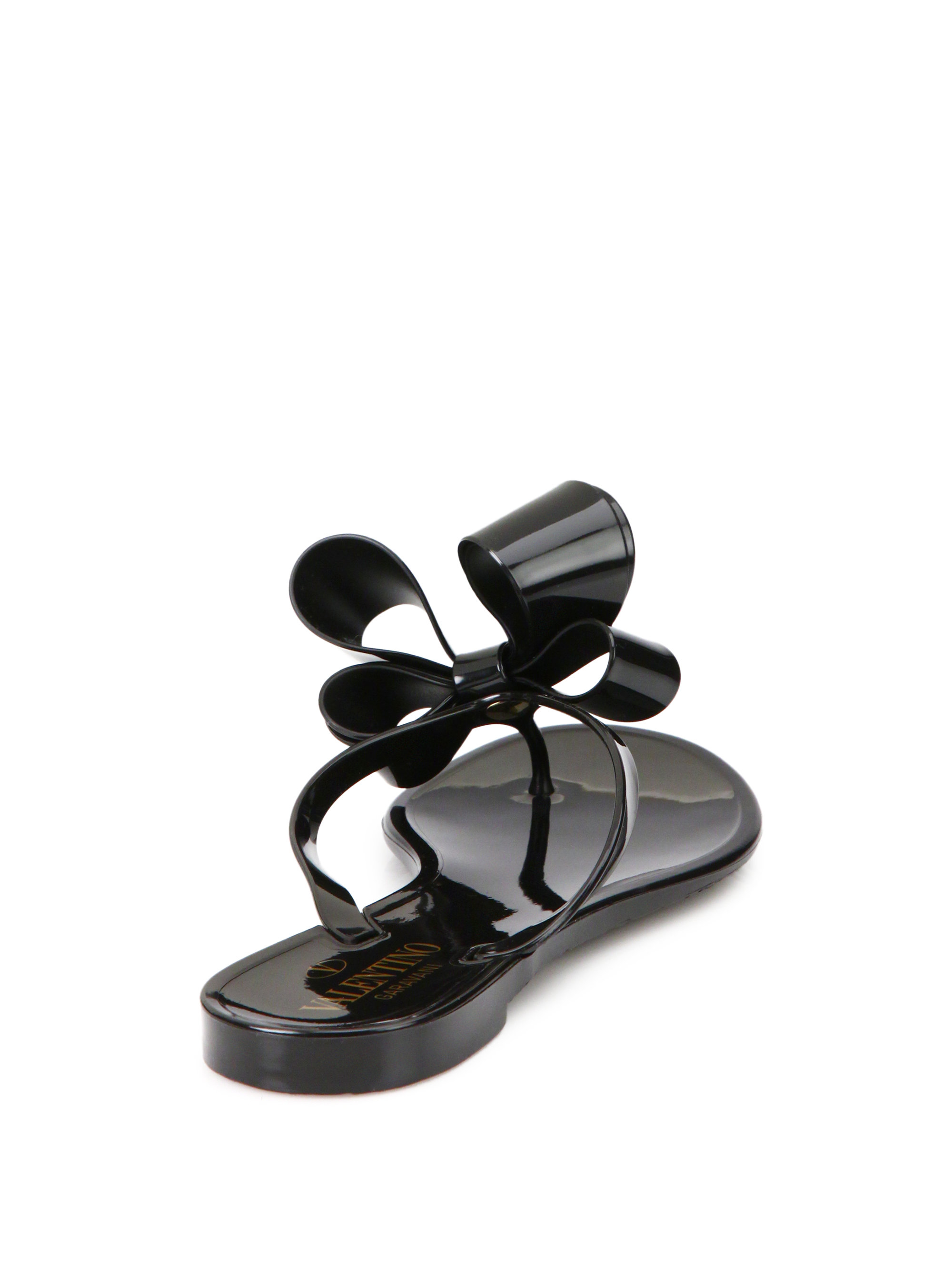 d393cf145 Lyst - Valentino Couture Bow Jelly Flip Flops in Black