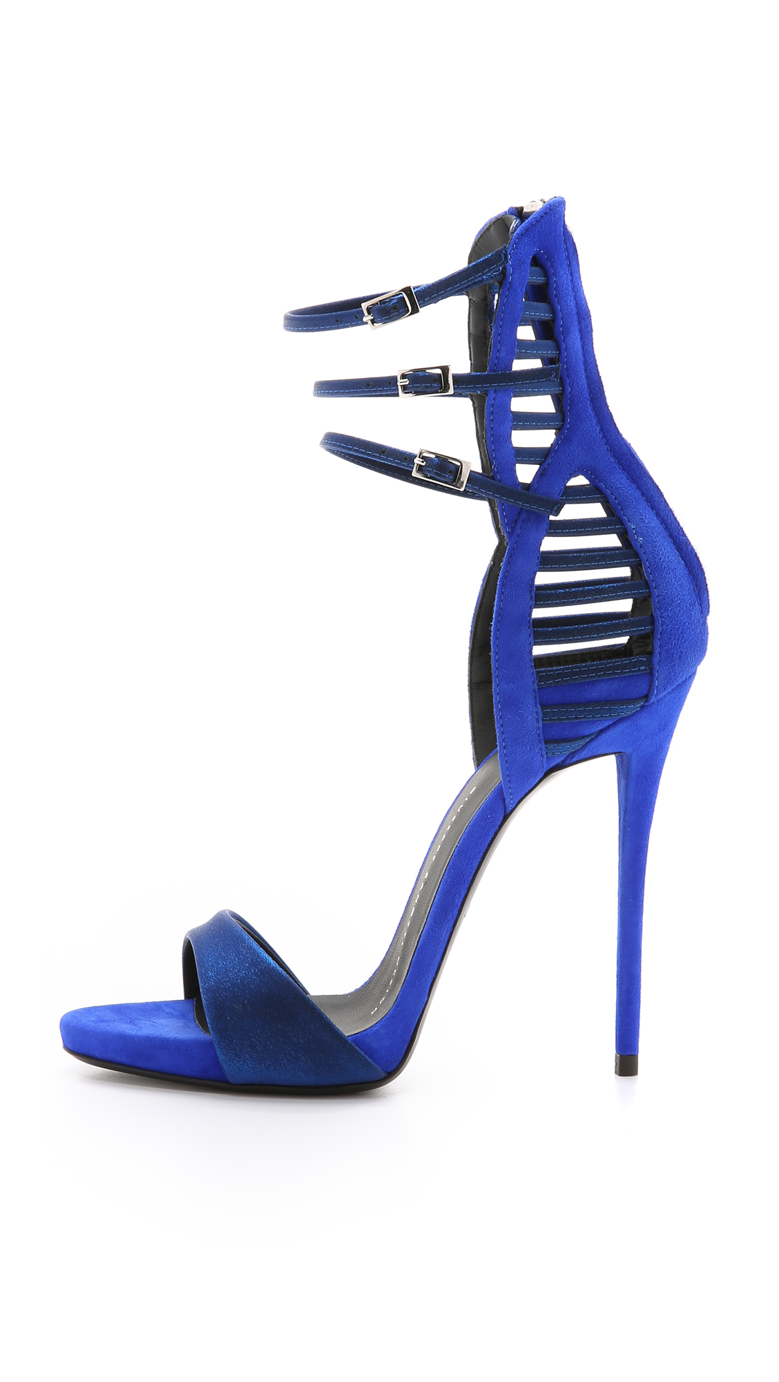 giuseppe zanotti blue suede cut out heels