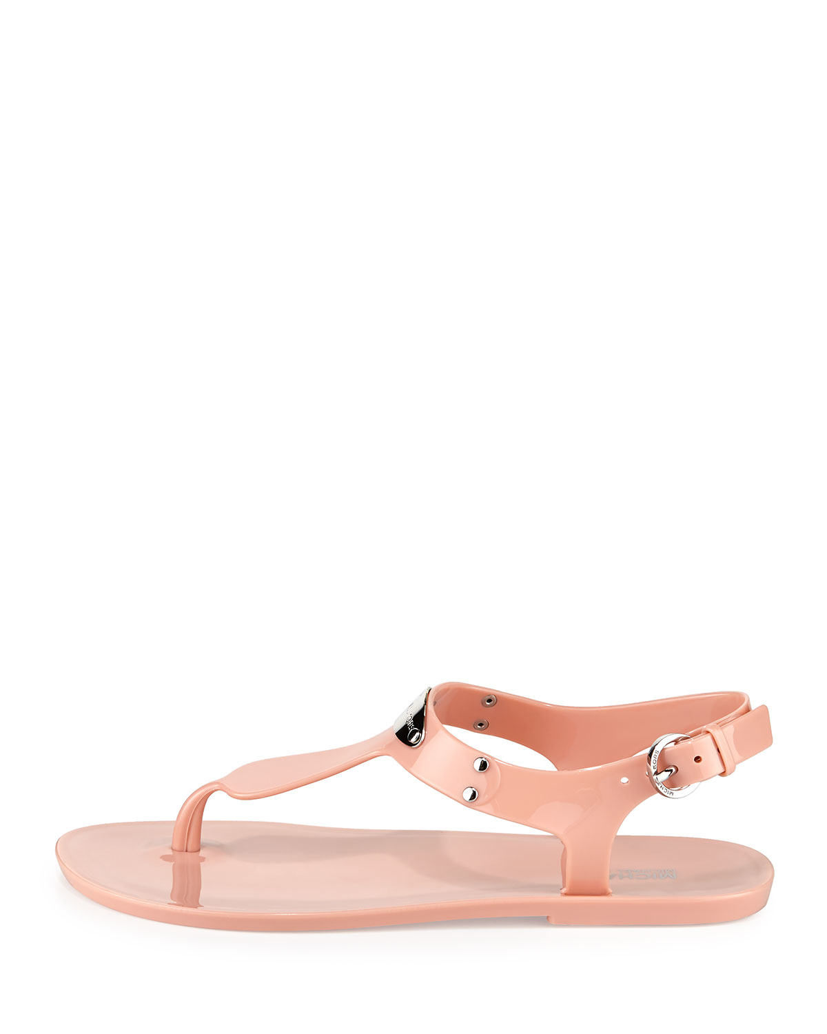 8c8be739656 Lyst - MICHAEL Michael Kors Logo-Plate PVC Sandals in Pink
