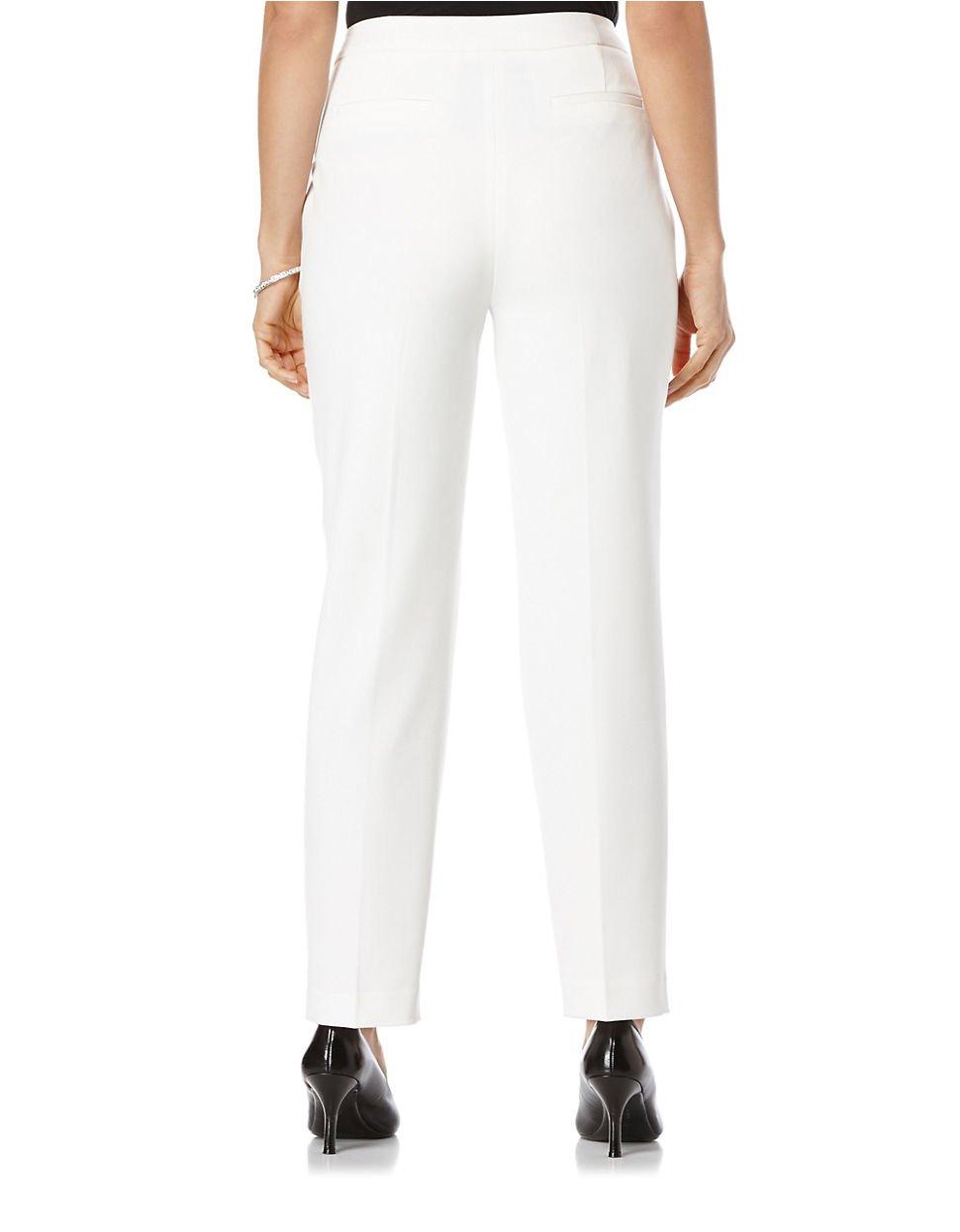 Rafaella Petite Fashion Gab Curvy Fit Pants In White Lyst