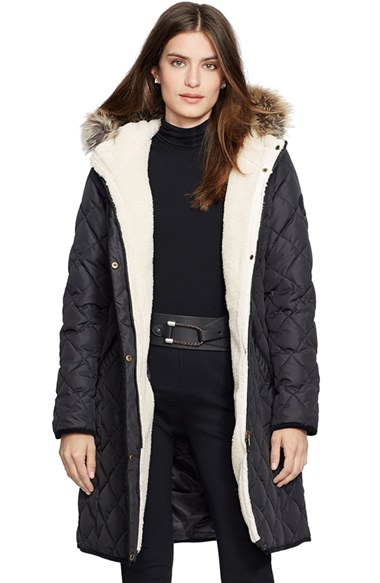 Lyst Lauren By Ralph Lauren Faux Fur Trim Down Amp Feather Fill Parka In Black
